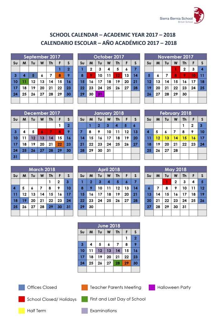 2017-18 Yearly School Calendar